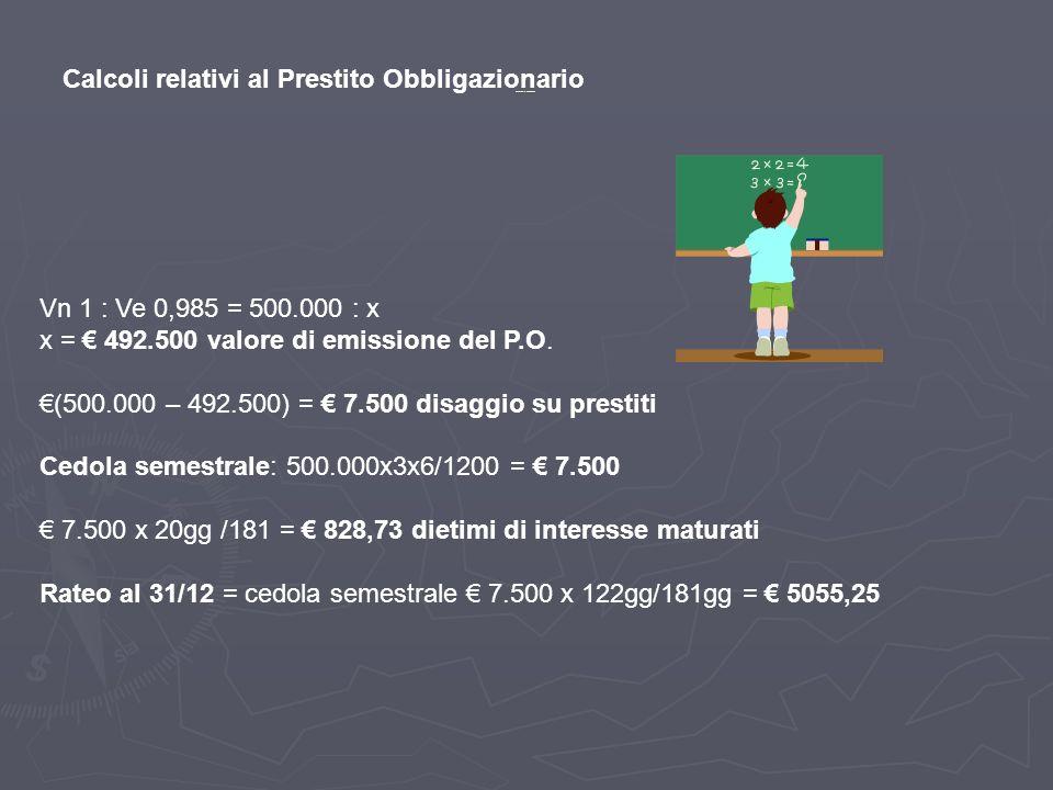 Calcoli relativi al Prestito Obbligazionario Vn 1 : Ve 0,985 = 500.000 : x x = 492.500 valore di emissione del P.O. (500.000 – 492.500) = 7.500 disagg