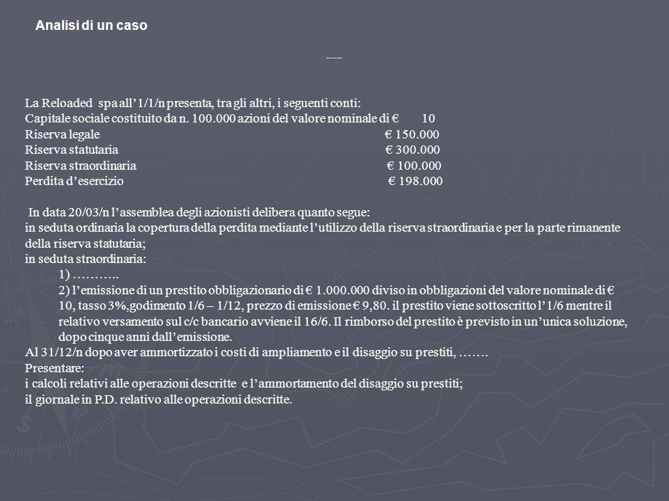 La Reloaded spa all1/1/n presenta, tra gli altri, i seguenti conti: Capitale sociale costituito da n. 100.000 azioni del valore nominale di 10 Riserva