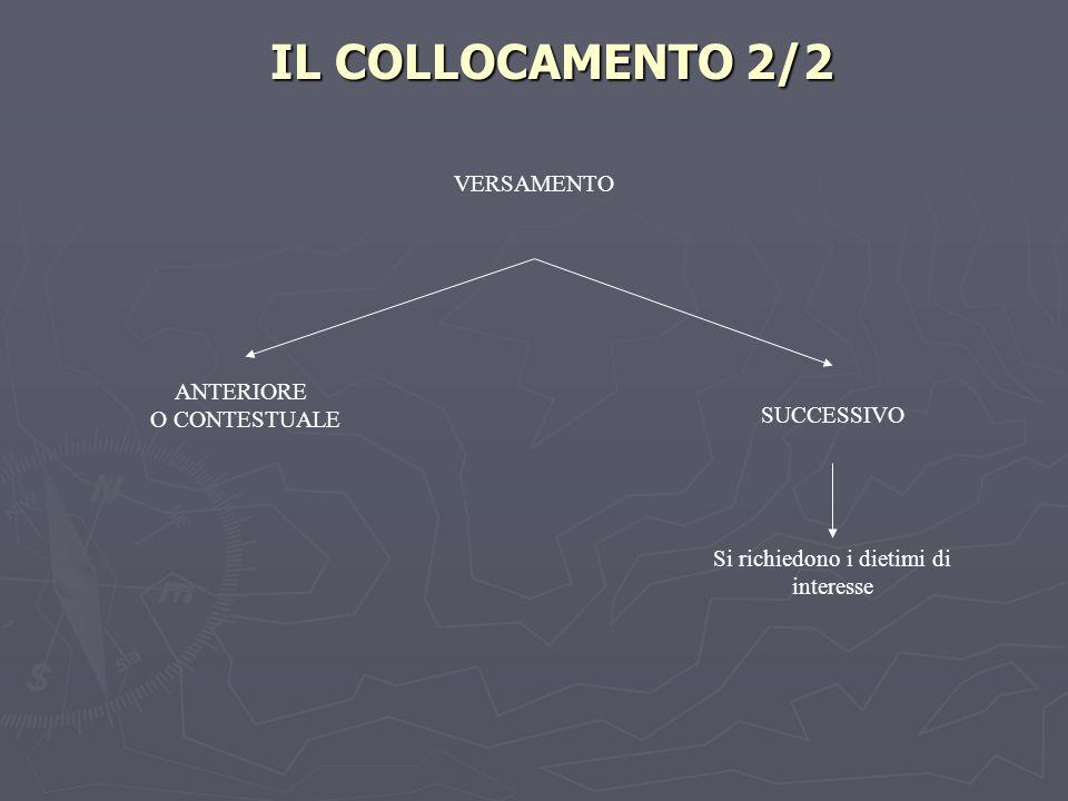 IL COLLOCAMENTO 2/2 Si richiedono i dietimi di interesse VERSAMENTO ANTERIORE O CONTESTUALE SUCCESSIVO
