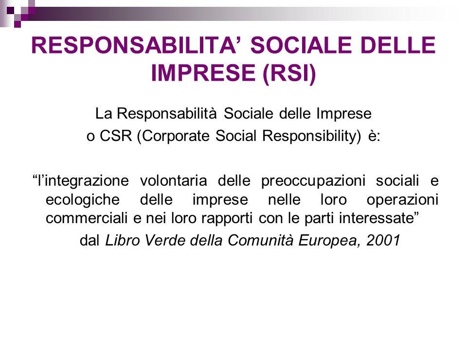 RESPONSABILITA SOCIALE DELLE IMPRESE (RSI) La Responsabilità Sociale delle Imprese o CSR (Corporate Social Responsibility) è: lintegrazione volontaria delle preoccupazioni sociali e ecologiche delle imprese nelle loro operazioni commerciali e nei loro rapporti con le parti interessate dal Libro Verde della Comunità Europea, 2001