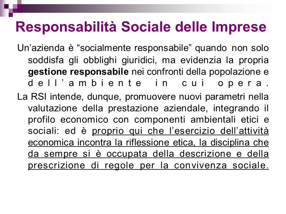 Responsabilità Sociale delle Imprese Unazienda è socialmente responsabile quando non solo soddisfa gli obblighi giuridici, ma evidenzia la propria gestione responsabile nei confronti della popolazione e dellambiente in cui opera.
