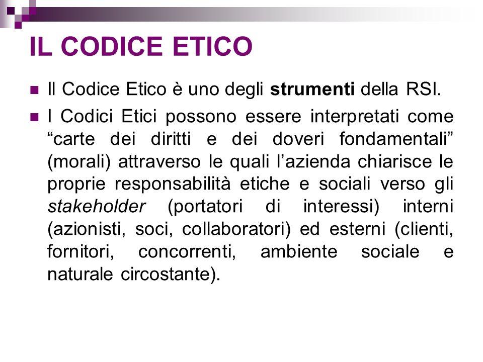 IL CODICE ETICO Il Codice Etico è uno degli strumenti della RSI.