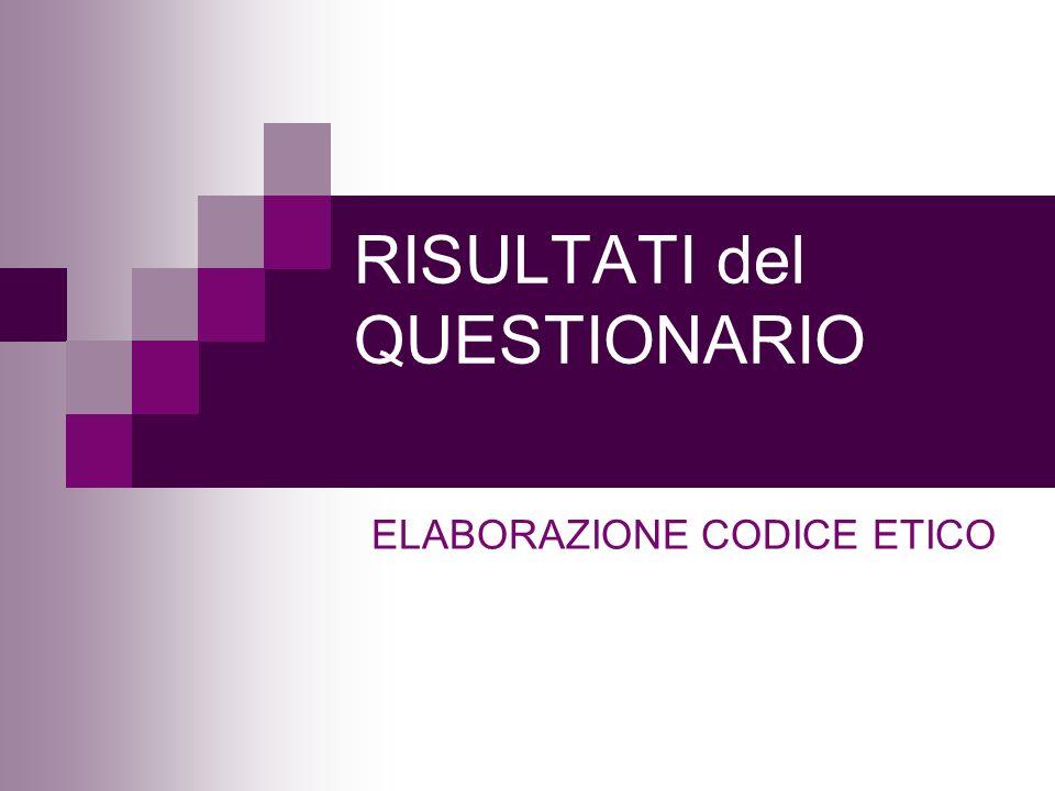 RISULTATI del QUESTIONARIO ELABORAZIONE CODICE ETICO