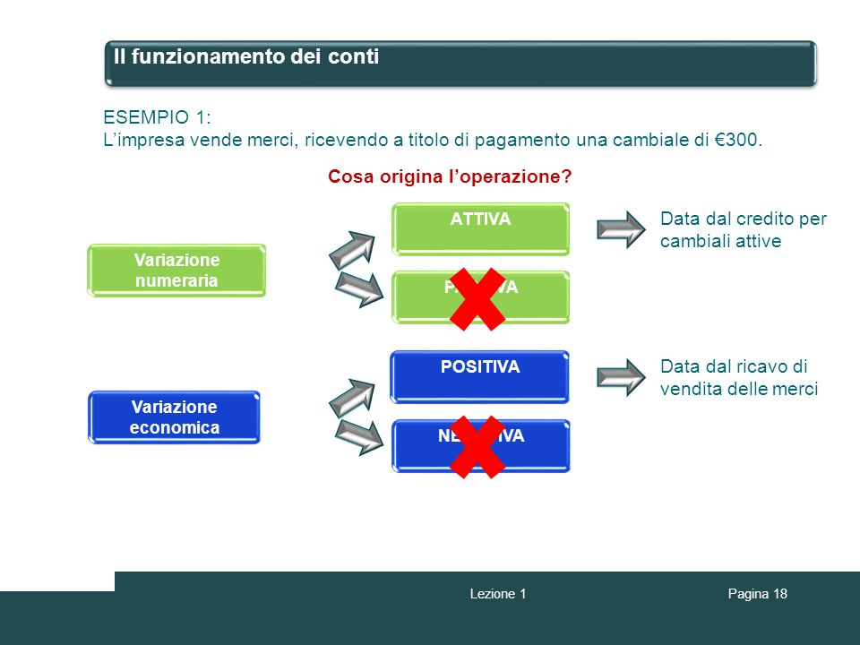 Il funzionamento dei conti ESEMPIO 1: Limpresa vende merci, ricevendo a titolo di pagamento una cambiale di 300. Cosa origina loperazione? Variazione