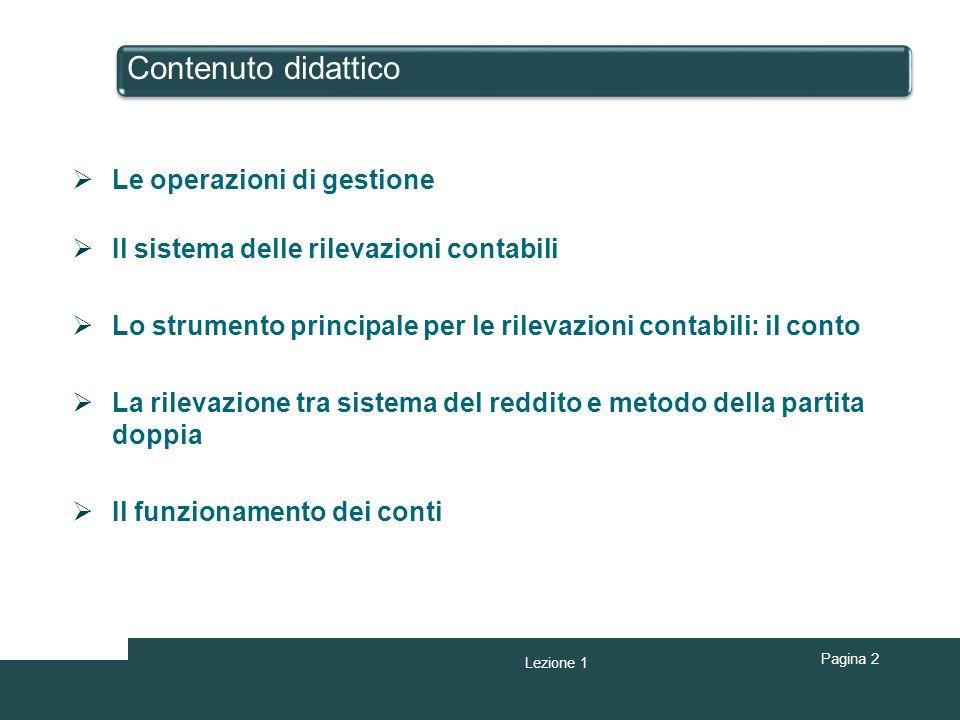 Contenuto didattico Pagina 2 Le operazioni di gestione Il sistema delle rilevazioni contabili Lo strumento principale per le rilevazioni contabili: il