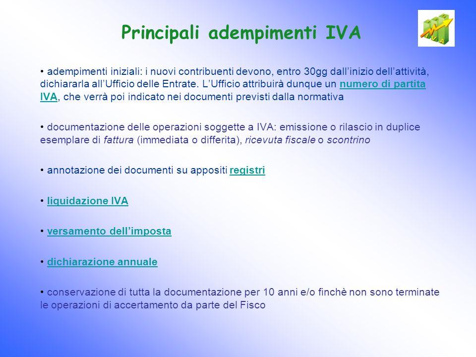 Principali adempimenti IVA adempimenti iniziali: i nuovi contribuenti devono, entro 30gg dallinizio dellattività, dichiararla allUfficio delle Entrate