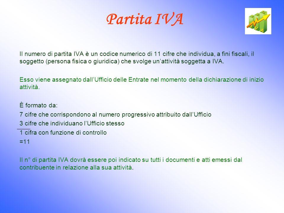 Partita IVA Il numero di partita IVA è un codice numerico di 11 cifre che individua, a fini fiscali, il soggetto (persona fisica o giuridica) che svol