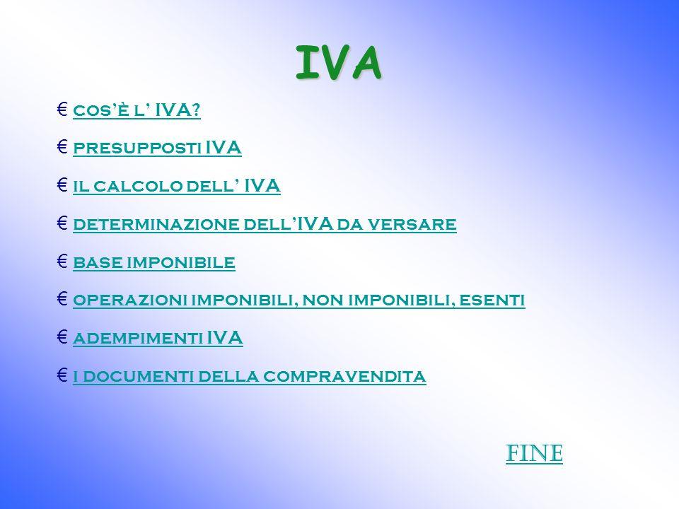 IVA cosè l IVA? presupposti IVA il calcolo dell IVA determinazione dellIVA da versare base imponibile operazioni imponibili, non imponibili, esenti ad