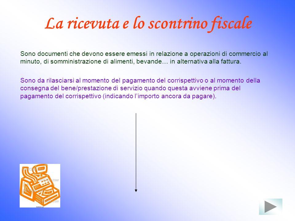 La ricevuta e lo scontrino fiscale Sono documenti che devono essere emessi in relazione a operazioni di commercio al minuto, di somministrazione di al