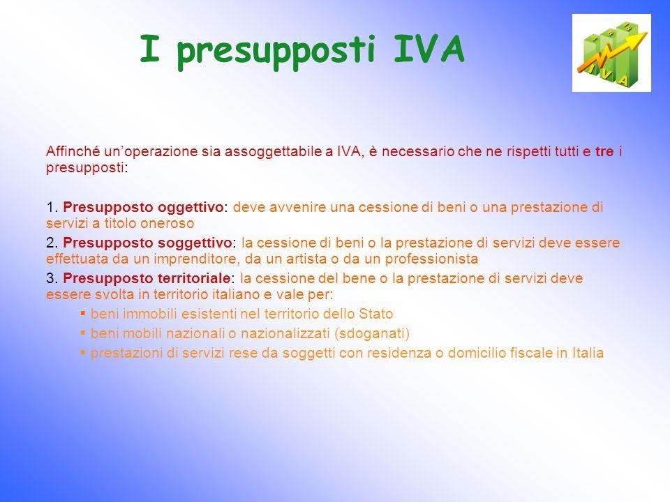 I presupposti IVA Affinché unoperazione sia assoggettabile a IVA, è necessario che ne rispetti tutti e tre i presupposti: 1. Presupposto oggettivo: de