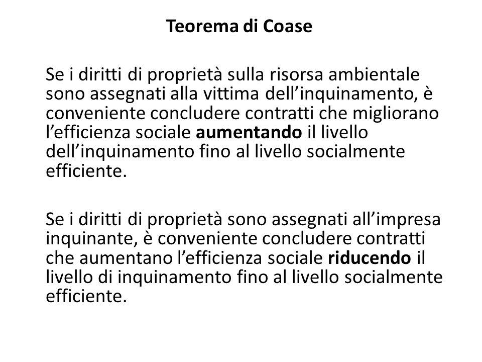 Teorema di Coase Se i diritti di proprietà sulla risorsa ambientale sono assegnati alla vittima dellinquinamento, è conveniente concludere contratti c