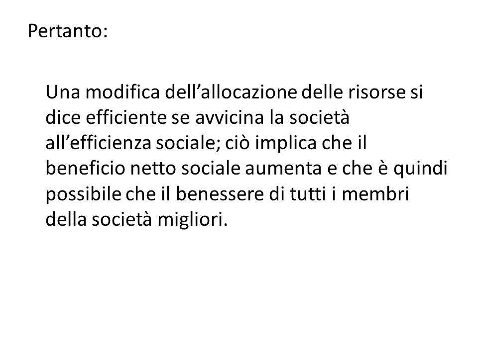 Pertanto: Una modifica dellallocazione delle risorse si dice efficiente se avvicina la società allefficienza sociale; ciò implica che il beneficio net