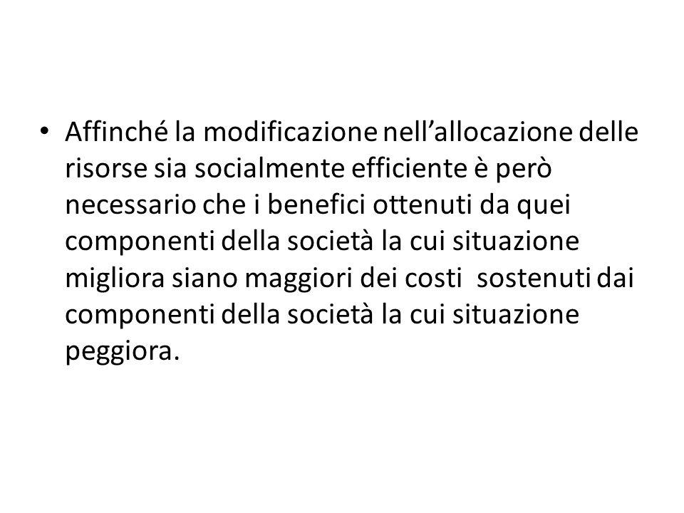 Affinché la modificazione nellallocazione delle risorse sia socialmente efficiente è però necessario che i benefici ottenuti da quei componenti della