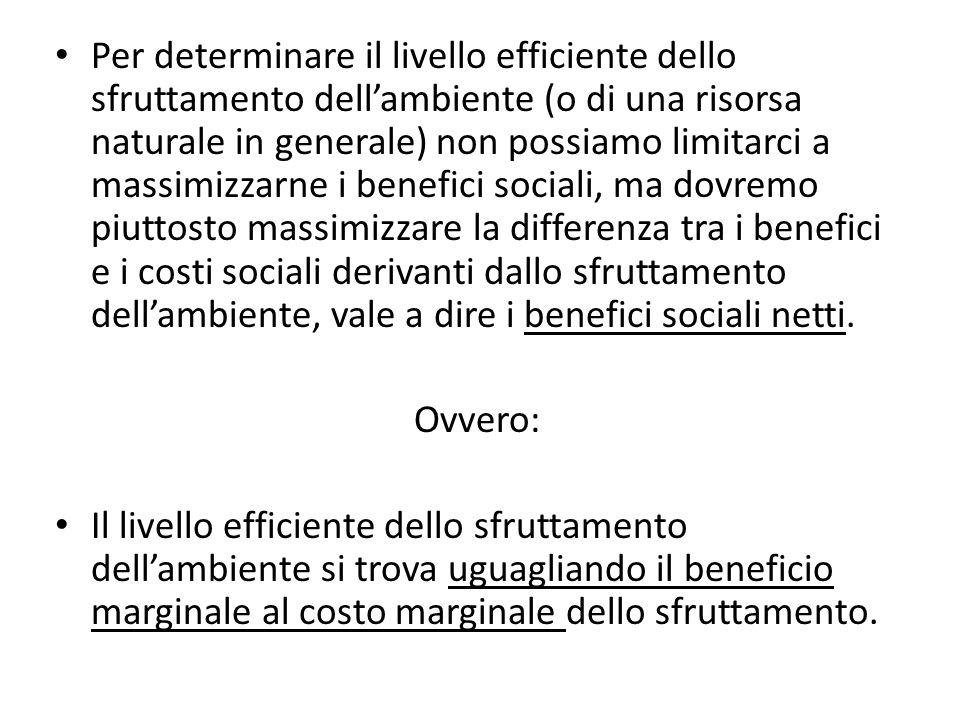Teorema di Coase Se i diritti di proprietà sulla risorsa ambientale sono assegnati alla vittima dellinquinamento, è conveniente concludere contratti che migliorano lefficienza sociale aumentando il livello dellinquinamento fino al livello socialmente efficiente.