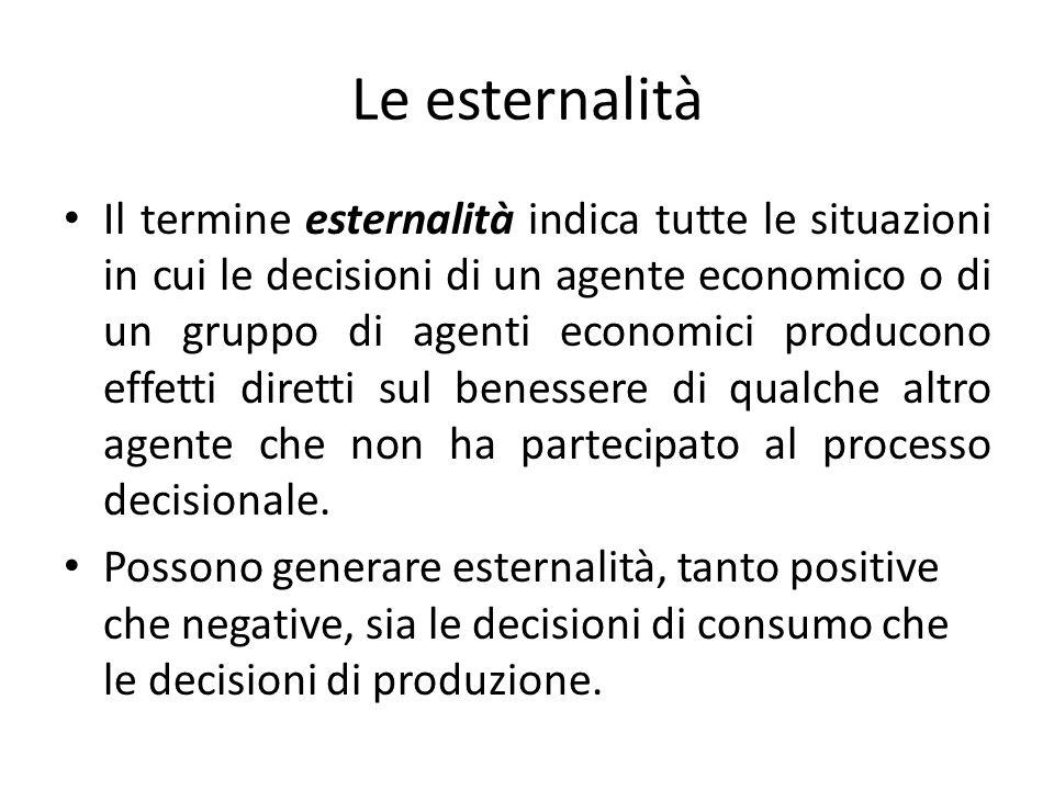 Le esternalità Il termine esternalità indica tutte le situazioni in cui le decisioni di un agente economico o di un gruppo di agenti economici produco