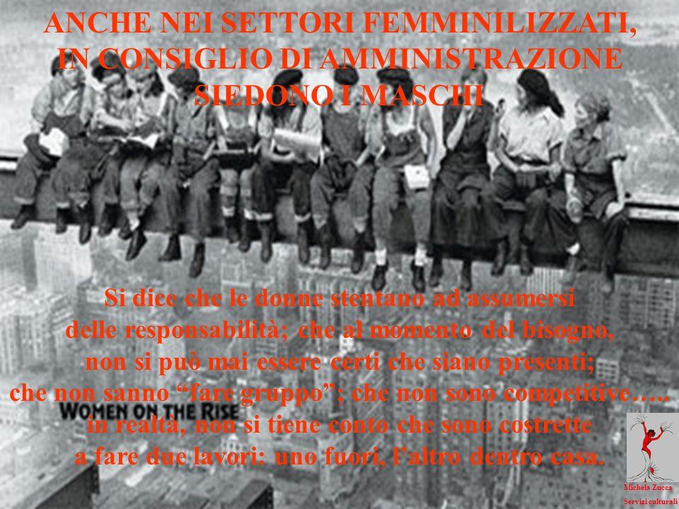 ANCHE NEI SETTORI FEMMINILIZZATI, IN CONSIGLIO DI AMMINISTRAZIONE SIEDONO I MASCHI Si dice che le donne stentano ad assumersi delle responsabilità; che al momento del bisogno, non si può mai essere certi che siano presenti; che non sanno fare gruppo; che non sono competitive…..