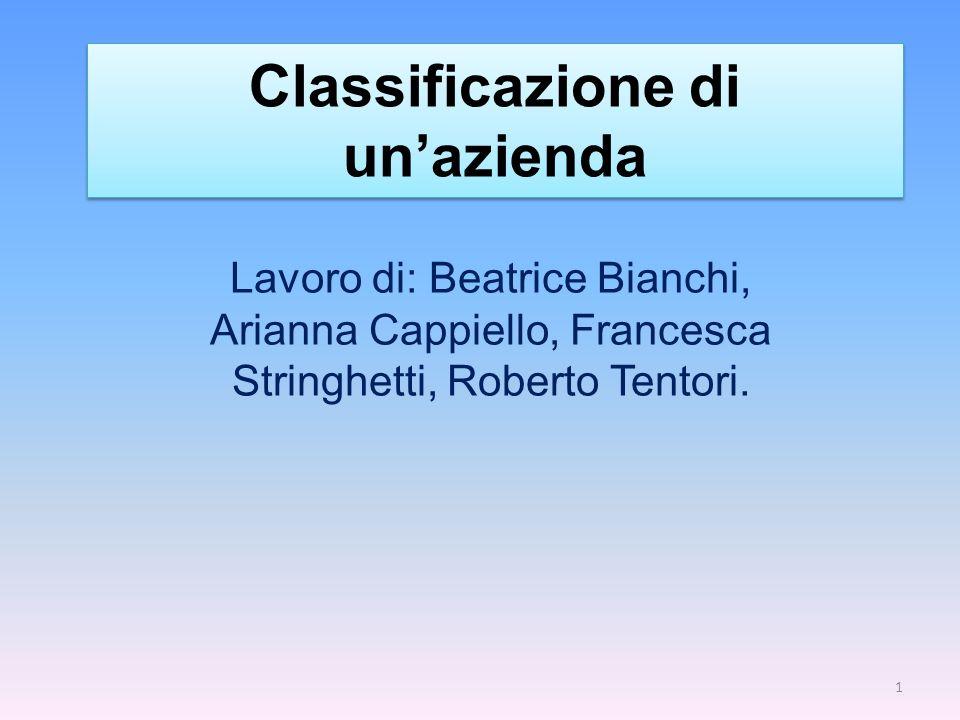 Classificazione di unazienda Lavoro di: Beatrice Bianchi, Arianna Cappiello, Francesca Stringhetti, Roberto Tentori. 1