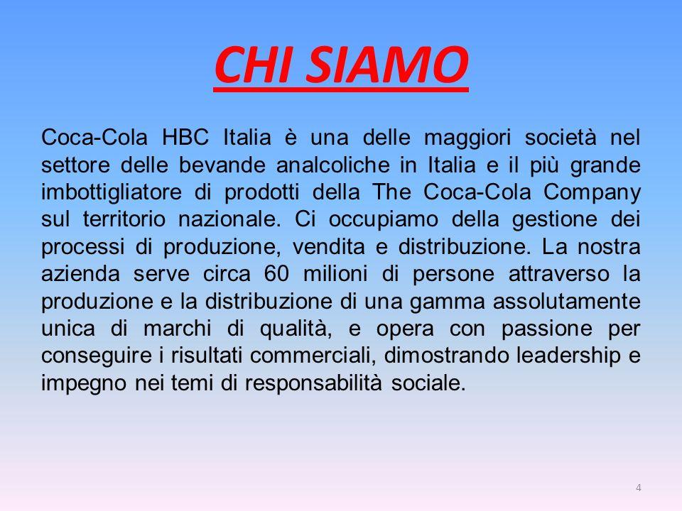 CHI SIAMO Coca-Cola HBC Italia è una delle maggiori società nel settore delle bevande analcoliche in Italia e il più grande imbottigliatore di prodott