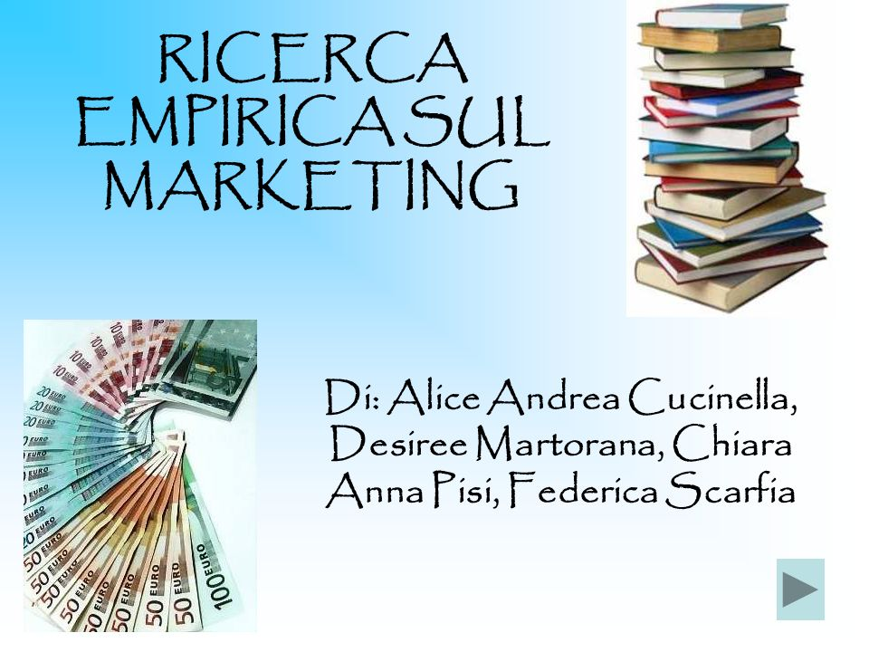 RICERCA EMPIRICA SUL MARKETING Di: Alice Andrea Cucinella, Desiree Martorana, Chiara Anna Pisi, Federica Scarfia