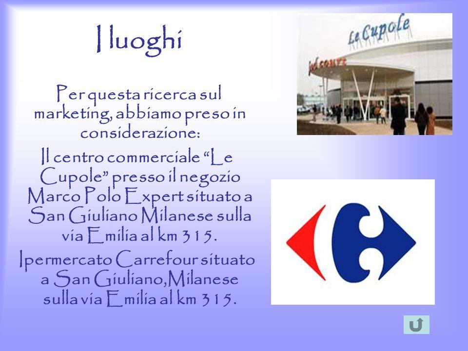 I luoghi Per questa ricerca sul marketing, abbiamo preso in considerazione: Il centro commerciale Le Cupole presso il negozio Marco Polo Expert situat
