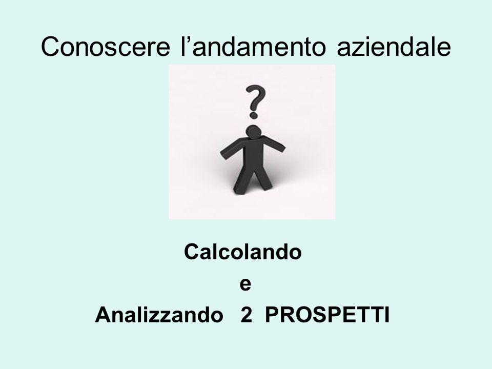 Conoscere landamento aziendale Calcolando e Analizzando 2 PROSPETTI