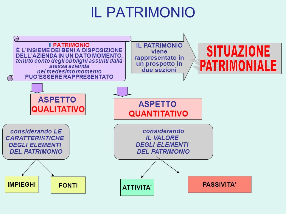 IL PATRIMONIO Il PATRIMONIO È LINSIEME DEI BENI A DISPOSIZIONE DELLAZIENDA IN UN DATO MOMENTO, tenuto conto degli obblighi assunti dalla stessa aziend