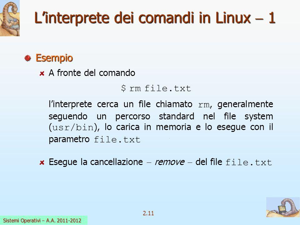 2.11 Sistemi Operativi a.a. 2009-10 Linterprete dei comandi in Linux 1 Esempio A fronte del comando $ rm file.txt linterprete cerca un file chiamato r