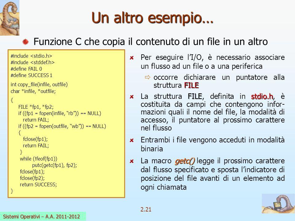 2.21 Sistemi Operativi a.a. 2009-10 Un altro esempio… Per eseguire lI/O, è necessario associare un flusso ad un file o a una periferica FILE occorre d