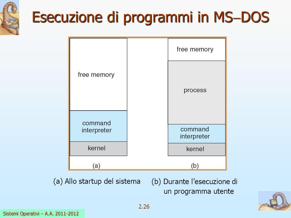 2.26 Sistemi Operativi a.a. 2009-10 Esecuzione di programmi in MS DOS (b) Durante lesecuzione di un programma utente (a) Allo startup del sistema Sist