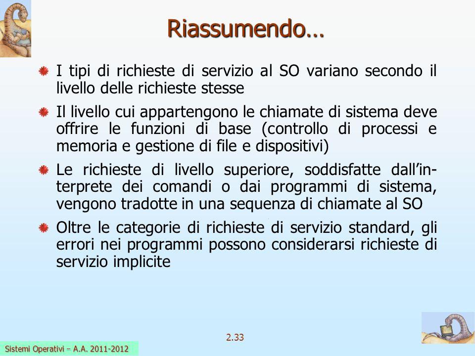 2.33 Sistemi Operativi a.a. 2009-10 I tipi di richieste di servizio al SO variano secondo il livello delle richieste stesse Il livello cui appartengon