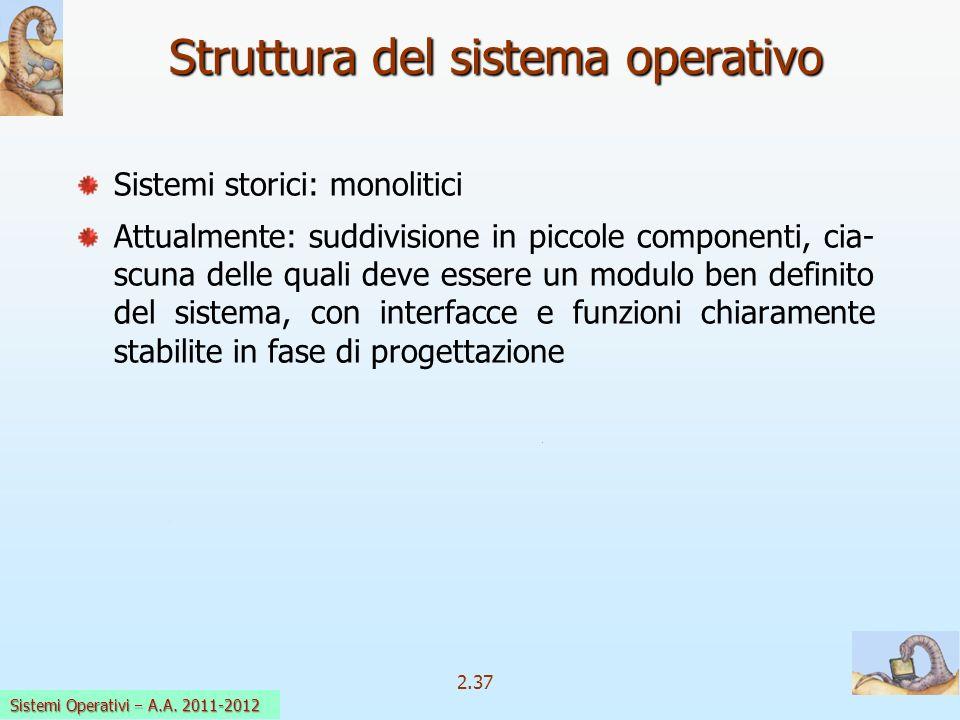 2.37 Sistemi Operativi a.a. 2009-10 Sistemi storici: monolitici Attualmente: suddivisione in piccole componenti, cia- scuna delle quali deve essere un