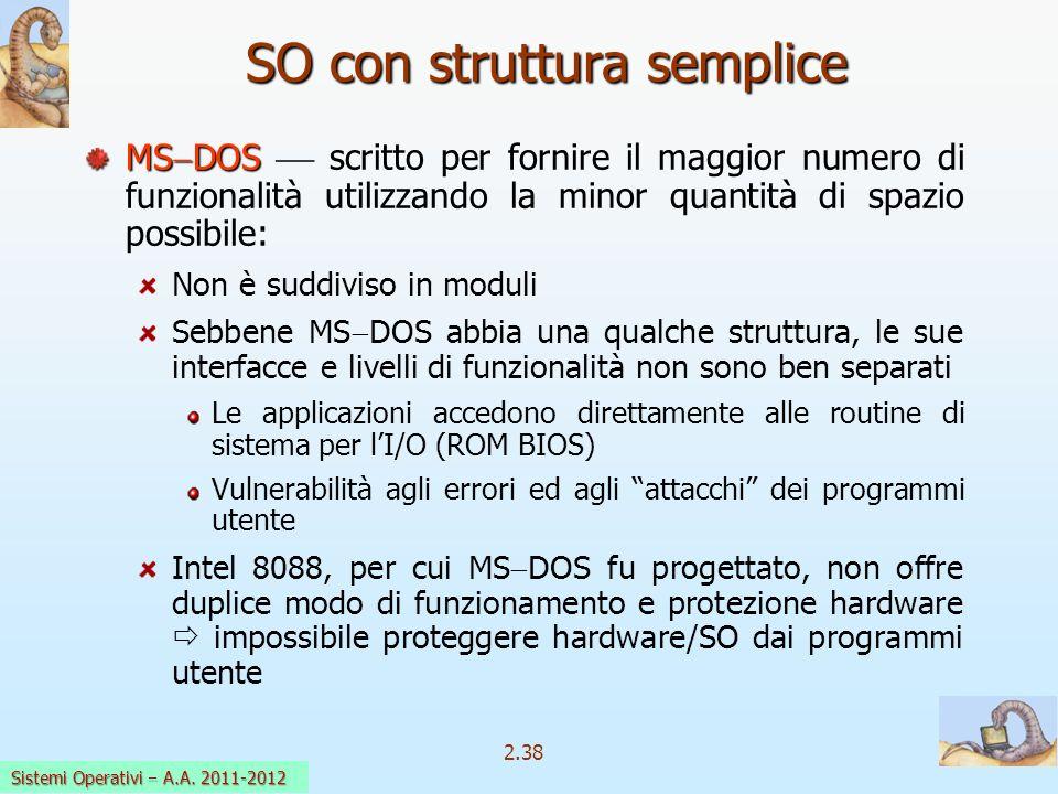2.38 Sistemi Operativi a.a. 2009-10 SO con struttura semplice MS DOS MS DOS scritto per fornire il maggior numero di funzionalità utilizzando la minor