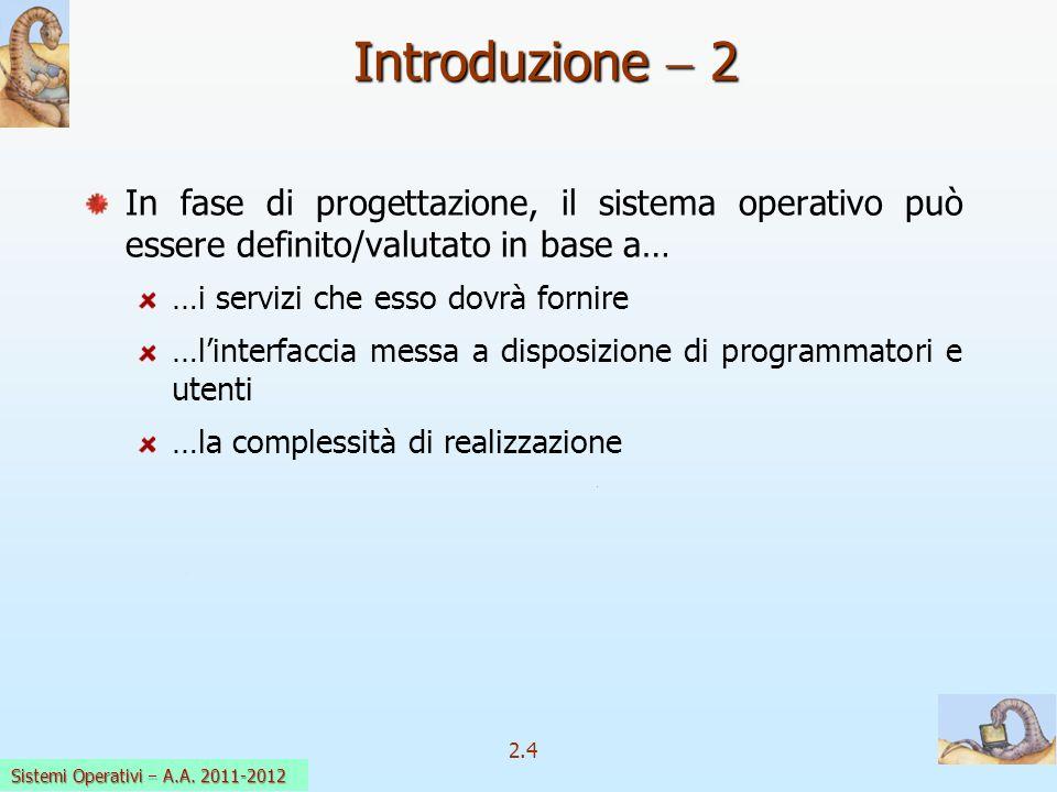 2.4 Sistemi Operativi a.a. 2009-10 Introduzione 2 In fase di progettazione, il sistema operativo può essere definito/valutato in base a… …i servizi ch
