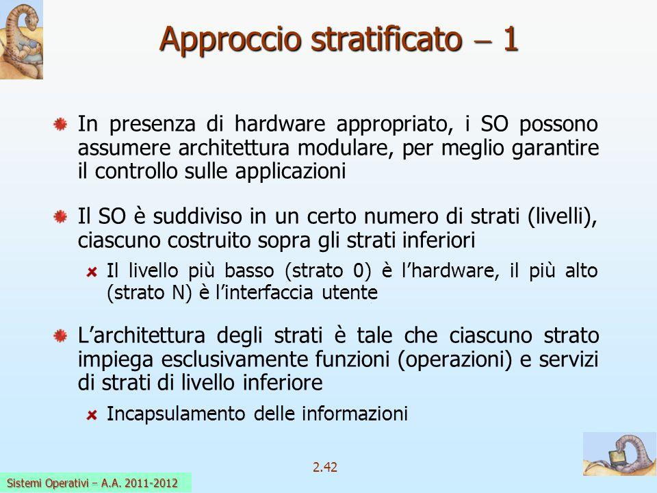 2.42 Sistemi Operativi a.a. 2009-10 Approccio stratificato 1 In presenza di hardware appropriato, i SO possono assumere architettura modulare, per meg