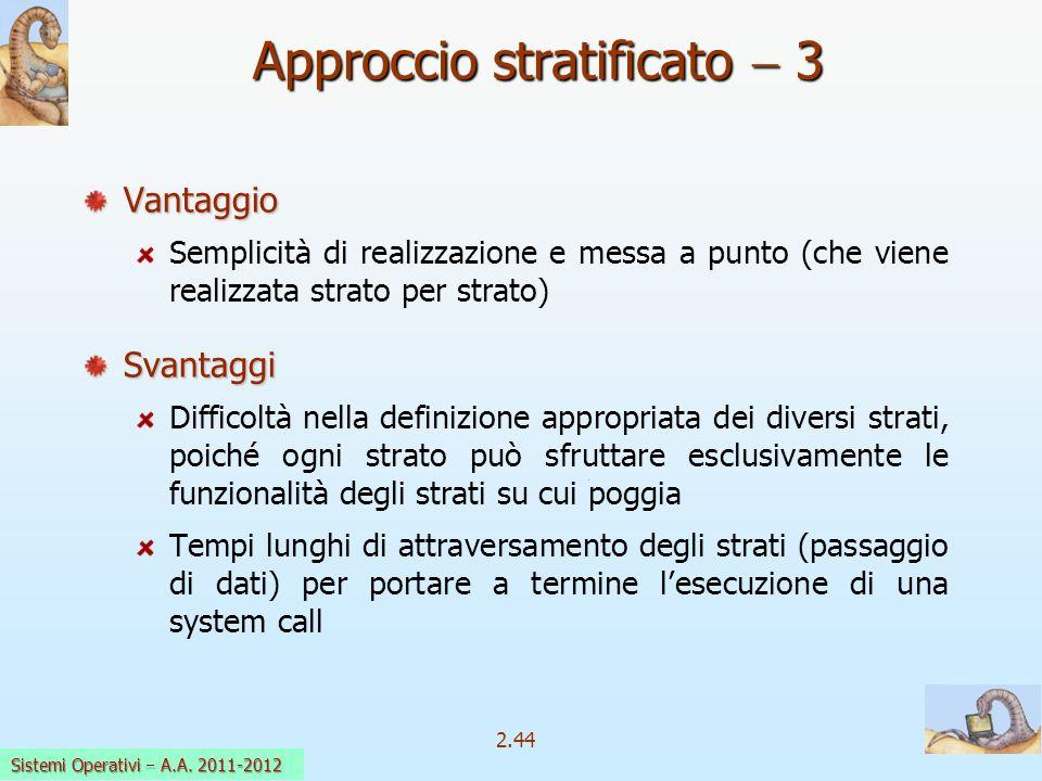 2.44 Sistemi Operativi a.a. 2009-10 Approccio stratificato 3 Vantaggio Semplicità di realizzazione e messa a punto (che viene realizzata strato per st