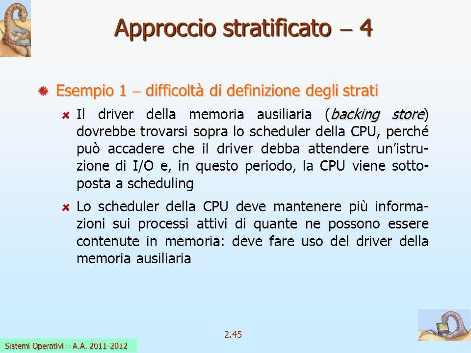 2.45 Sistemi Operativi a.a. 2009-10 Approccio stratificato 4 Esempio 1 difficoltà di definizione degli strati backing store Il driver della memoria au