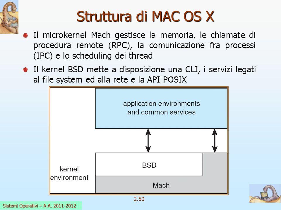 2.50 Sistemi Operativi a.a. 2009-10 Struttura di MAC OS X Il microkernel Mach gestisce la memoria, le chiamate di procedura remote (RPC), la comunicaz