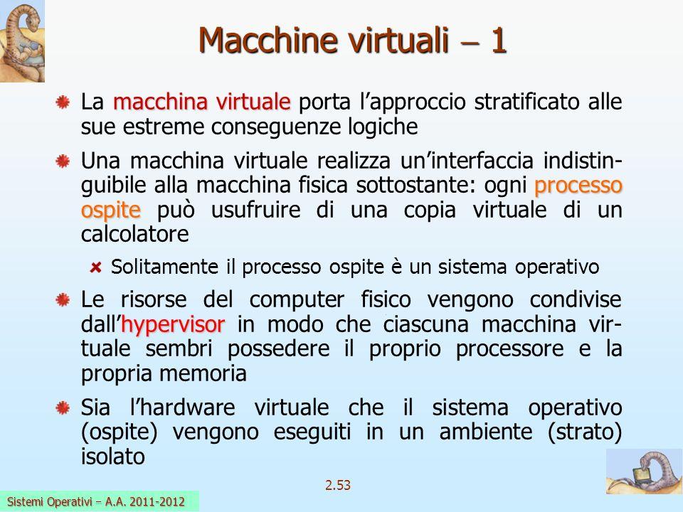 2.53 Sistemi Operativi a.a. 2009-10 Macchine virtuali 1 macchina virtuale La macchina virtuale porta lapproccio stratificato alle sue estreme consegue