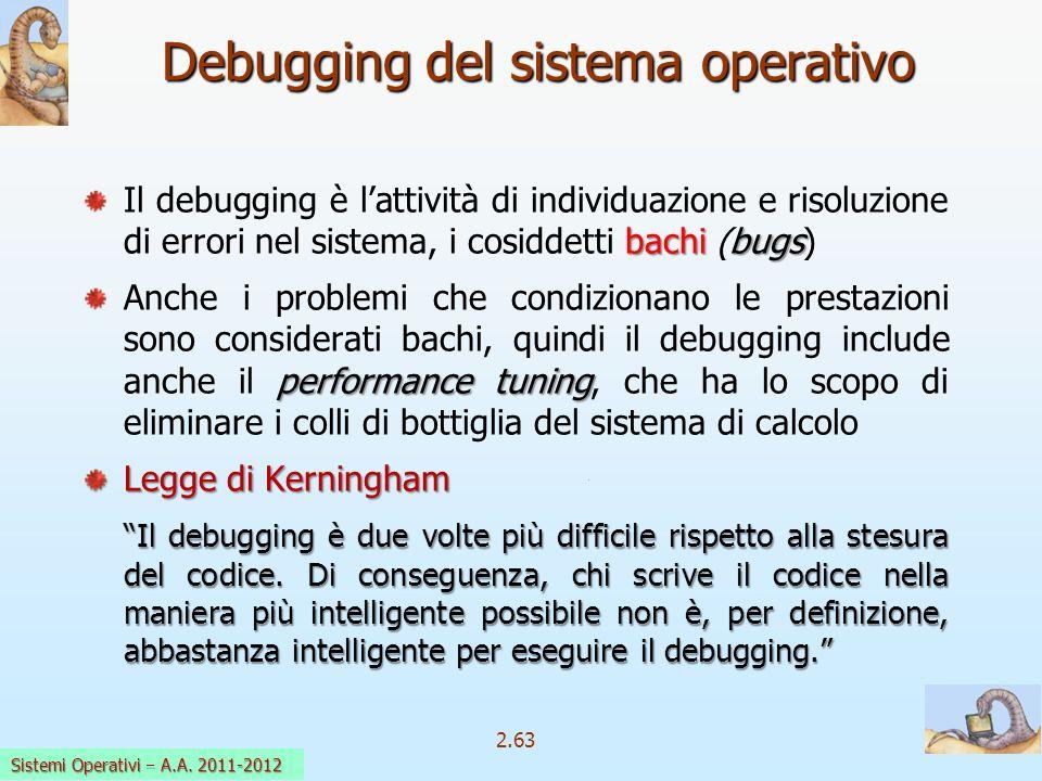 2.63 Sistemi Operativi a.a. 2009-10 Debugging del sistema operativo bachi bugs Il debugging è lattività di individuazione e risoluzione di errori nel