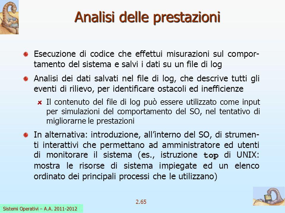 2.65 Sistemi Operativi a.a. 2009-10 Analisi delle prestazioni Esecuzione di codice che effettui misurazioni sul compor- tamento del sistema e salvi i