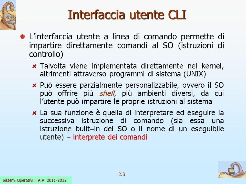 2.8 Sistemi Operativi a.a. 2009-10 Interfaccia utente CLI Linterfaccia utente a linea di comando permette di impartire direttamente comandi al SO (ist