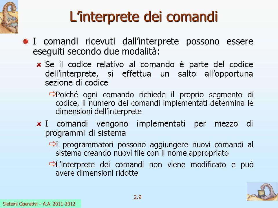 2.9 Sistemi Operativi a.a. 2009-10 Linterprete dei comandi I comandi ricevuti dallinterprete possono essere eseguiti secondo due modalità: Se il codic
