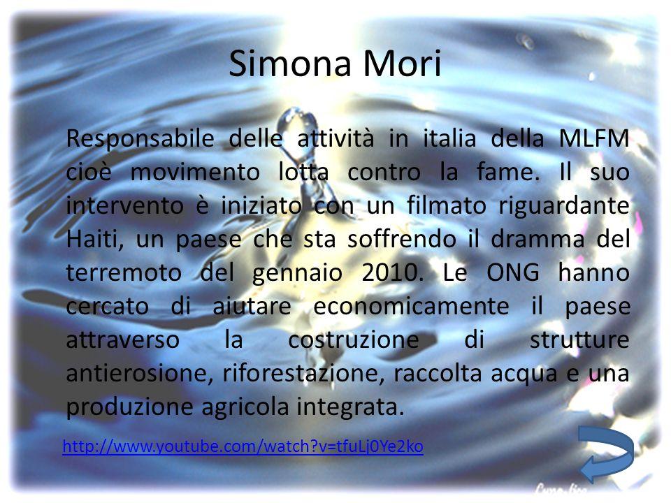 Simona Mori Responsabile delle attività in italia della MLFM cioè movimento lotta contro la fame.