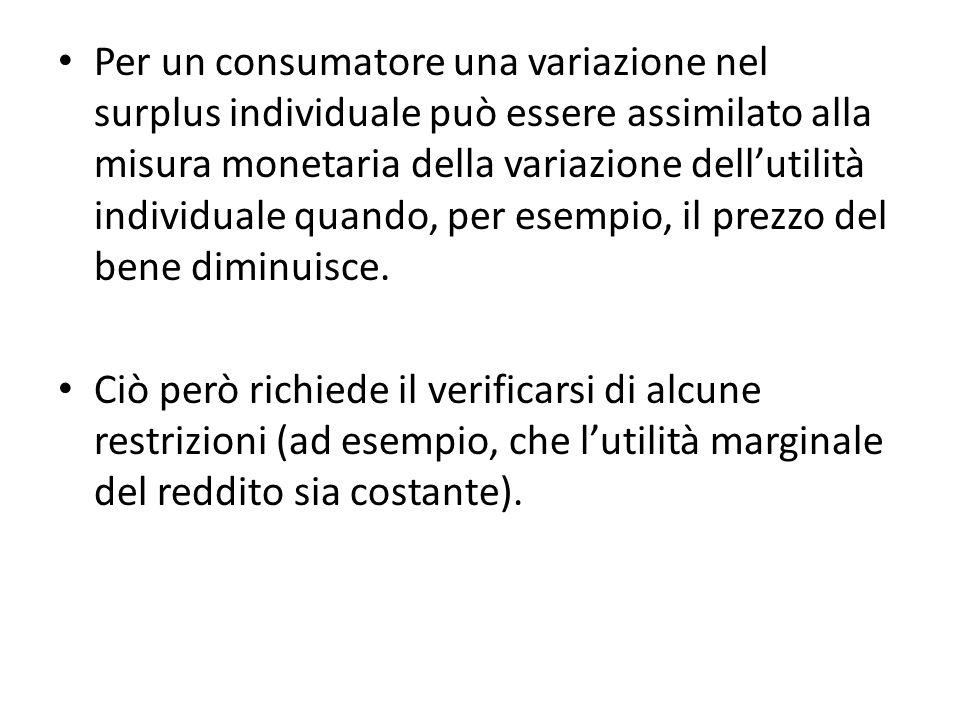 Per un consumatore una variazione nel surplus individuale può essere assimilato alla misura monetaria della variazione dellutilità individuale quando, per esempio, il prezzo del bene diminuisce.