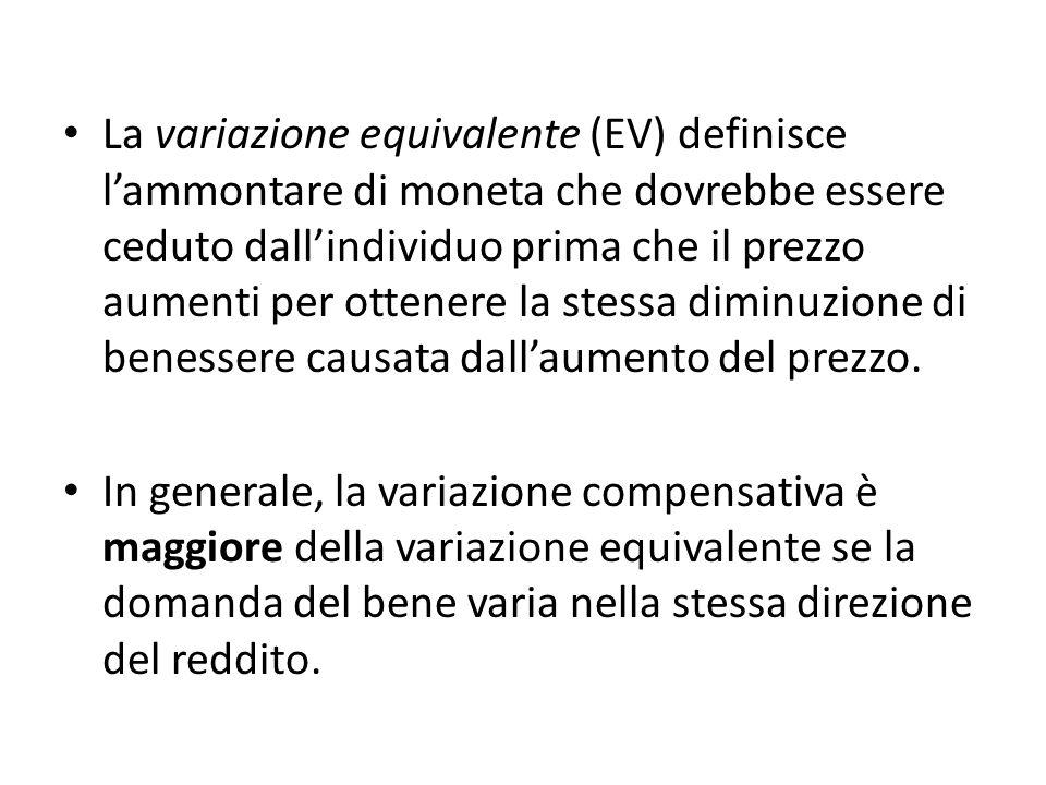 La variazione equivalente (EV) definisce lammontare di moneta che dovrebbe essere ceduto dallindividuo prima che il prezzo aumenti per ottenere la stessa diminuzione di benessere causata dallaumento del prezzo.