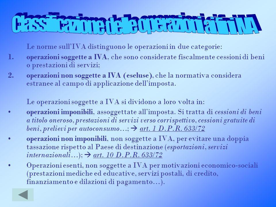 Le norme sullIVA distinguono le operazioni in due categorie: 1.operazioni soggette a IVA, che sono considerate fiscalmente cessioni di beni o prestazi