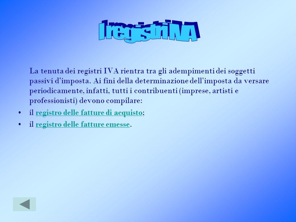 La tenuta dei registri IVA rientra tra gli adempimenti dei soggetti passivi dimposta. Ai fini della determinazione dellimposta da versare periodicamen