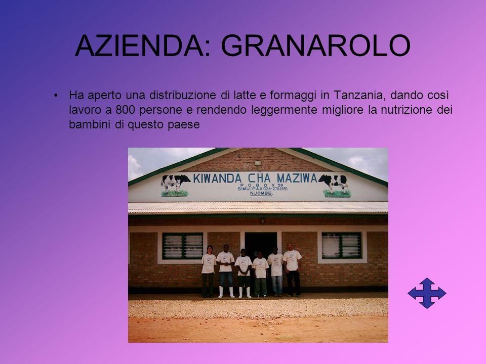 AZIENDA: GRANAROLO Ha aperto una distribuzione di latte e formaggi in Tanzania, dando così lavoro a 800 persone e rendendo leggermente migliore la nutrizione dei bambini di questo paese