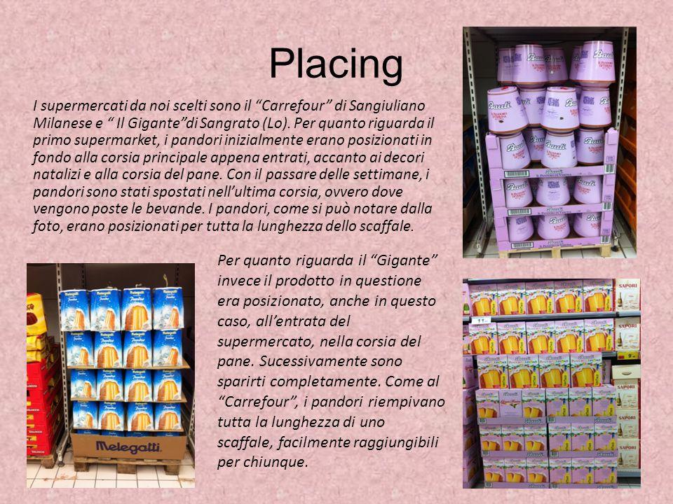 Placing I supermercati da noi scelti sono il Carrefour di Sangiuliano Milanese e Il Gigantedi Sangrato (Lo). Per quanto riguarda il primo supermarket,
