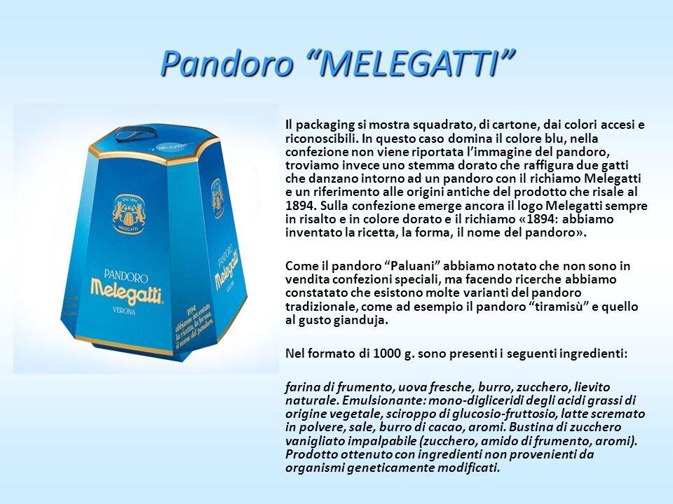 Pandoro MELEGATTI Il packaging si mostra squadrato, di cartone, dai colori accesi e riconoscibili. In questo caso domina il colore blu, nella confezio